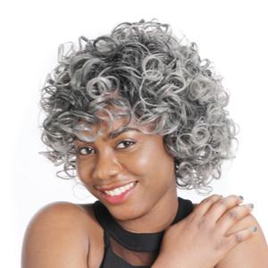 """ZM Newstyle 12"""" Short Afro parrucche sintetiche misto Ombre Grey Kinky parrucca riccio per Black / White Women fibra a temperatura elevata americana"""