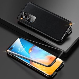 For Huawei P40 Pro Shockproof Magnetic Attraction Leather Backboard + Tempered Glass Case with Camera Lens Protector Cover