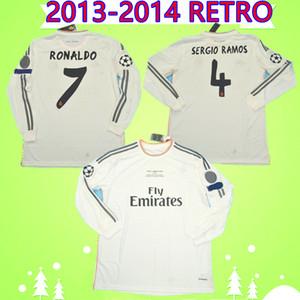 manga longa 2013 2014 de futebol Real Madrid jerseys TOTAL 13 14 camisas de futebol RONALDO Retro ISCO Vintage Maillot SERGIO RAMOS BENZEMA Camiseta