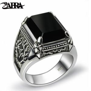 ZABRA reale 925 silberne schwarze Zircon-Ring für Männer Weibliche gravierte Blume Männer Art und Weise Sterling Thai Silber Schmuck Synthetische Onyx CJ11911111