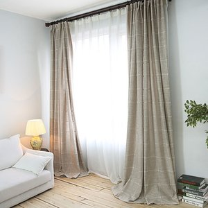 Modern thick imitation linen lattice curtains can be used for living room bedroom curtain window treatment