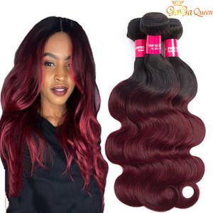 Brasiliana Ombre capelli 1B / 99J Corpo Wave 3 pacchi Lordo grado 8A Borgogna vino rosso Ombre umani capelli tessiamo estensioni Lunghezza 10-24 pollici