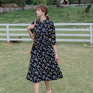 2020 Vintage Black Daisy Chiffon Long Sleeve Sundress Summer Plus Size Runway Midi Dresses Elegant Women Bodycon Party Vestidos