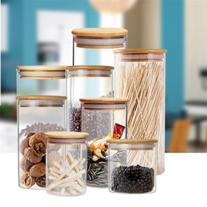Kitchen Storage Container Glass Seal Pot Cylinder Food Storage Bottle With Wooden Cover Tea Canister Dried Fruit Candy Jar