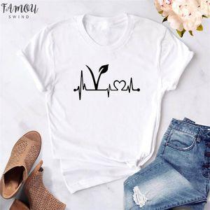 Mujeres camiseta vegano Heartbeat Supervivencia en la impresión ocasional camiseta divertida para señora Girl Top poliéster Tee Mujer Vegetariana camiseta