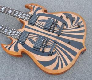 Nadir Wylde Ses Barbar 12 6 dizeleri Çift Boyun Siyah Behemoth Doğal Alev Maple Top SG Elektro Gitar EMG Transfer, Siyah Donanım
