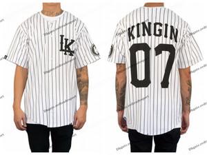 Cheap Mens LAST KINGS KINGIN BASEBALL JERSEY - WHITE 힙합 Baseball Jersey 07 KINGIN 스티치 저지 S-XXXL