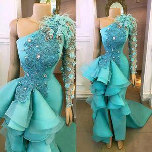 Hunter Green High Low Выпускные платья с длинными рукавами 3D-цветочные аппликация Формальные вечерние платья оборками баски платья партии Pageant