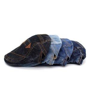 New Washed Denim Beret Double Arrow Peaked Cap Male Fashion Sun Hat Worn Old Retro Forward Hat