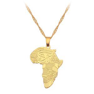 مصمم قلادة ذهبية الأفريقي خريطة قلادة قلادة الرجال النساء مجوهرات الهيب هوب المجوهرات قلادة القلائد