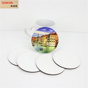 Sublimation Blank Round Coaster MDF Legno fai da te personalizzato Pad Pad Slip isolamento Pad Mat Mat Pad Hot Drink Holder
