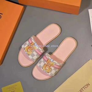 Louis Vuitton flip flop 209 المرأة جلدية طباعة صندل ضرب المصارع نمط تسولي الكمال شقة قماش عادي صندل Size35-42 xshfbcl