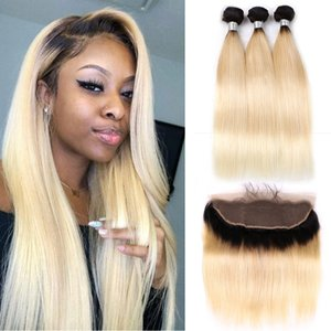 1Bx 613 Blond Ombre Color Remy Human 브라질 헤어 위브 3 묶음 스트레이트 / 바디 웨이브 클로저