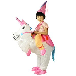 Halloween Licorne Costume Gonflable Blow Up Costume Costume Fancy Party Dress Noël Corne Cheval Cavalier Mascot Costume pour enfants