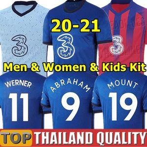 20 21 PULISIC 축구 유니폼 2019 2020 2021 아브라함 ZIYECH 램파드 축구 셔츠 세트 MOUNT 베르너 KANTE 남성 여성 아동 키트 유니폼