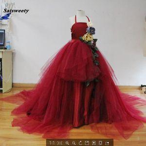 Pretty Tulle Kids Pageant Dress Flor 3D Puffy Vestidos de primera comunión para niñas Vestido de niña de flores Para bodas Tutu Vestidos de bola