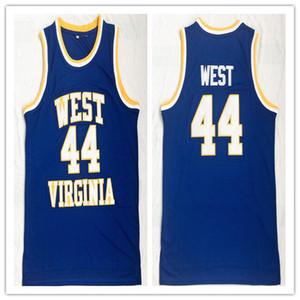 West Virginia Mountaineers West Virginia WVU 44 Jerry West uomo donna pullover da basket giovanile taglia S-5XL qualsiasi numero nome