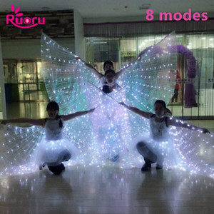 Ruoru Belly Dance Led Wings 8 modalità Adult white Led Isis Wings con Stick Open 360 Degrees BellyDance Stages Puntelli per performance