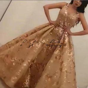 Vestidos de noche modestos Yousef aljasmi Labourjoisie Overskirt Vestido de fiesta Estampado de lentejuelas Floral Longitud total Dubai Ocasión de baile árabe