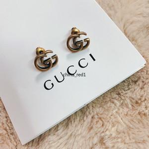 ITALIA joyería de la marca de diseño retro pendientes pendientes de cobre del alfabeto mujeres de calidad superior Elagant del perno prisionero del estilo de pendientes de la moda con la caja