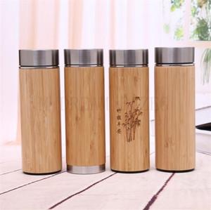 천연 대나무 텀블러는 스테인레스 스틸 라이너 보온병 병 진공 플라스크 절연 병 커피 차 잔 대나무 컵 450ml 350 ㎖