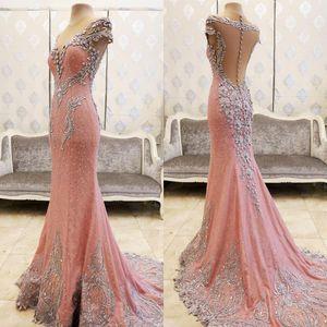 Bling Bling vestido de fiesta largo elegante del rosa de la sirena vestidos de noche moldeado cristalino de manga corta de las mujeres moldeada cristalina formal