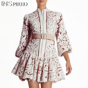 Uzun Kollu Bant fırfır Dantel Yama Pist Zimm Avrupa Vintage Şık Vintage Hollow Out Elbise Kadınlar vestidos