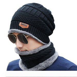Knitted Wool Hat 3 Style Multi Colors Autumn Winter Windproof Dust-proof Plus Velvet Soft Elastic Double Layer Warm Hat VT0534
