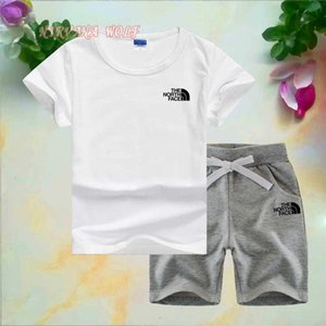 Bebê menino infantil roupas de grife Marca Little Kids Sets 1-7 T Crianças O-pescoço T-shirt Calças Curtas 2 Pçs / sets Meninos Meninas Puro Algodão