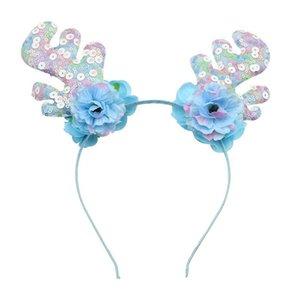Banda de Navidad Elk Hair astas del copo de nieve diadema de lentejuelas aro del pelo Accesorios (azul cielo)