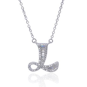 South Korea Europe and America fashion necklace English letter Pendant Necklace women pure silver gold plated full diamond clavicle chain ac