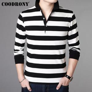 COODRONY Listrado Casual Streetwear Camiseta de Manga Comprida T Shirt Dos Homens de Algodão Macio Camiseta Homme Turn-down Collar T-Shirt Dos Homens 95013