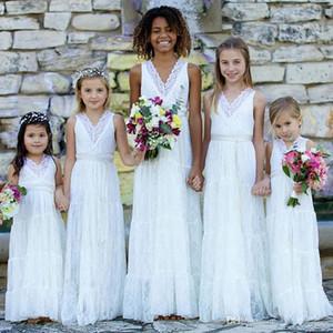 Boho Lace Flower Girls Dresses White V neck Weddings Juniors Bridesmaids Dresses Cheap Long Girl Summer Party Dresses Toddler Gowns B83