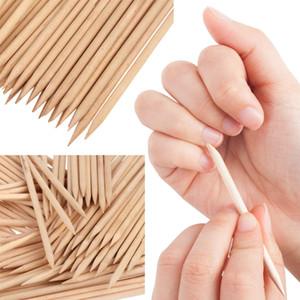 100pcs / set Nail Art Orange Wood Stick Cuticle Pusher Remover Manicure Care Tools