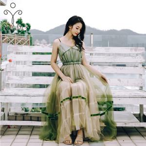 YOSIMI con scollo a V Abito senza maniche sexy delle donne 2020 Estate maxi maglia verde vestito lungo Backless tunica Bohemian Beach Vestidos