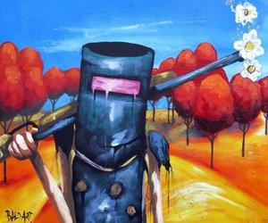 Açık Tuval Wall Art Canvas Resimler 200.119 Boyama Ned Kelly Avustralya tarafından Andy Baker sokak sanatı Ev Dekorasyonu Handpainted HD Baskı Yağ