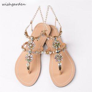 2020 NEW Women`s Fashion summer bohemia diamond sandals women Casual beach shining boho shoes T-strap thong flip flops Slippers