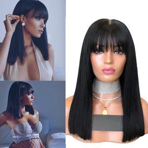 Peluca recta de encaje frontal 13x6 con flequillo Cabello virginal peruano Fringe 360 Pelucas de encaje para mujer Color natural
