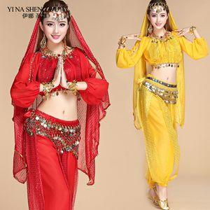 Bollywood Dança Costumes Costumes Belly Dance Set For Women Chiffon Bollywood Orientale barriga Costume Set 8pcs
