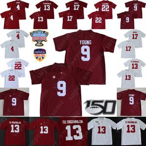 NCAA Alabama Crimson Tide Futbol Jersey 9 Bryce Genç Tua Tagovailoa Jerry Jeudy Najee Harris Jaylen Waddle Formalar Kırmızı Beyaz