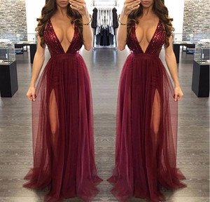 Burgundy Sequined Prom Dresses 2019 Plunging V-neck Holidays Graduation Wear Evening Party Gowns Custom Made Plus Size