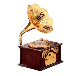 HOT-Gramophone Shaped Classic Vintage Music Box Hand Crank Type Music Box Movement Diy Romantic Christmas Present Drop Shipping
