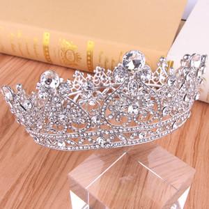Великолепная принцесса Большой Свадебные Коронки Люкс Jewel Диадемы Женщины головные уборы Серебряные Металлические Кристалл европейские головные уборы Ювелирные изделия Свадебные Accessorie