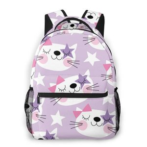 OLN Women Backpack Kids School Bag for Teenage Girls Cute White Cat Face Female Laptop Notebook Bagpack Travel Back Pack 2020