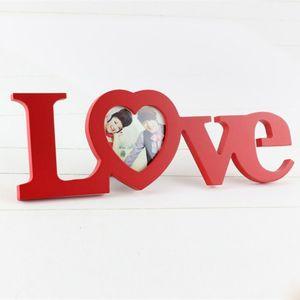 Love Shape Photo Frame Home Decor Decoration Bedroom Desk Ornament Wooden Wedding Picture Frame Casamento Gift
