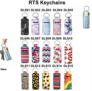 Neoprene Chapstick Holder Lipstick Cases Cover Portable Lipstick Holders Marble Style Keychain RTS Keyrings Party Favor OOA8070