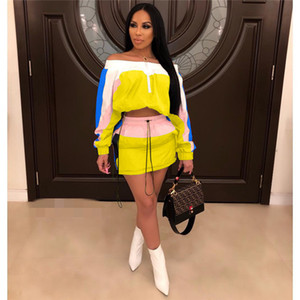 Summer Designer lambrissé 2PC Set Femme Pure Color 2PC Robe Slash Neck Mode Femmes en vrac manches longues Vêtements pour femmes