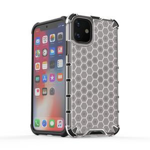 Panal híbrido armadura del caso claro de teléfono a prueba de golpes para iPhone 11 Pro XS MAX XR 6 7 8 Plus Samsung S10 Nota 10 Plus A10S A20S A50 M30 Huawei