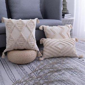 Bohemian estilo borlas capa de almofada 45 * 45CM / 30 * 50 centímetros Bege fronha Handmade Home Decor para Sala Quarto
