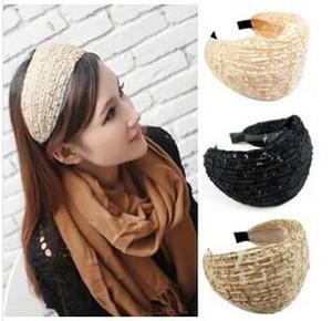 الموضة المتضخم رباطات الرباط Hairbands للنساء مجوهرات واسعة الرباط العصابة السيدات تطريز زهري العصابة الكورية